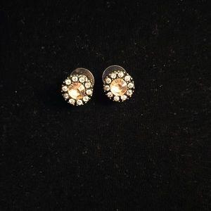 Jewelry - Peach Center w White Rhinestone surround Earrings